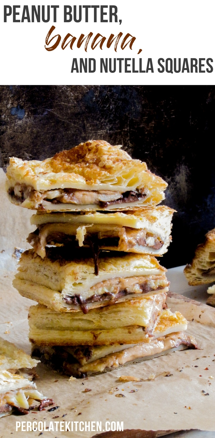Peanut Butter, Banana and Nutella Squares