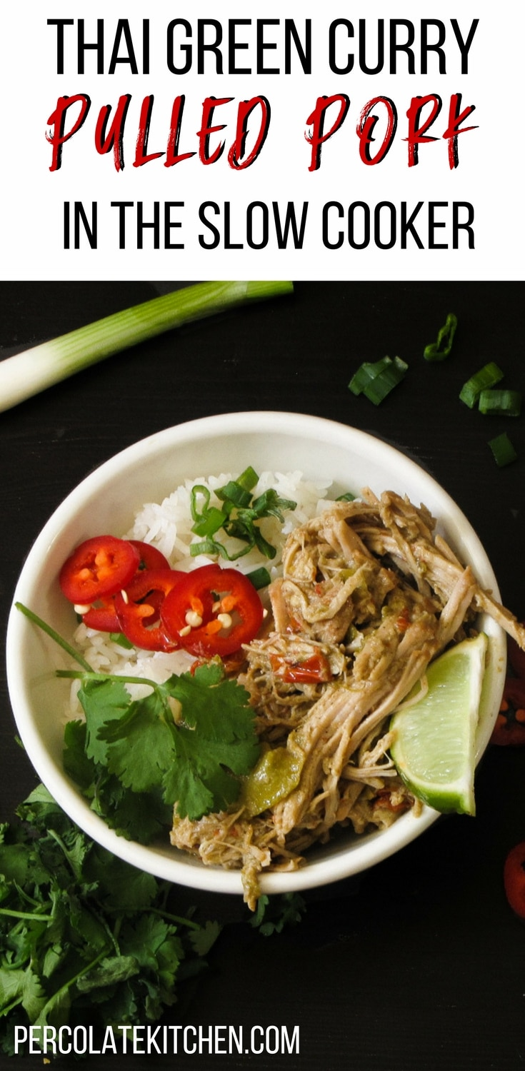 If ever there was an easy recipe for my slow cooker, it's this thai green curry recipe! I like how she makes this with pulled pork but I've also done chicken which is a little faster and still sooo good. It's really good for making ahead for the week, too. Great recipe for the crockpot!