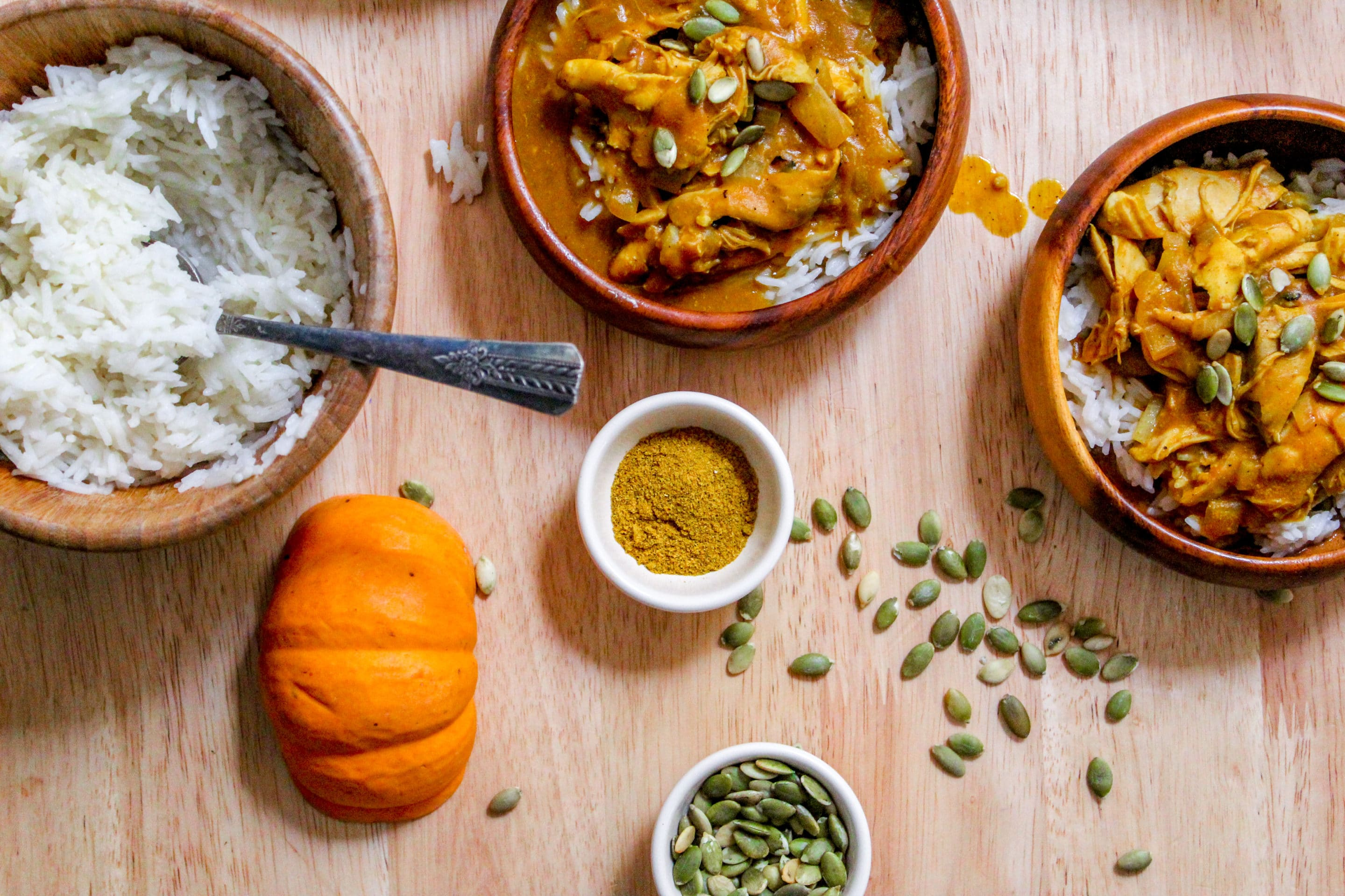 I love how this pumpkin chicken curry is extra creamy with the addition of pumpkin puree! It's an easy sauce and goes great with chicken, and I love making it on a busy weeknight when I get home late. It's sooooo much better the next day too so I love reuing it for leftovers! Yum recipe!