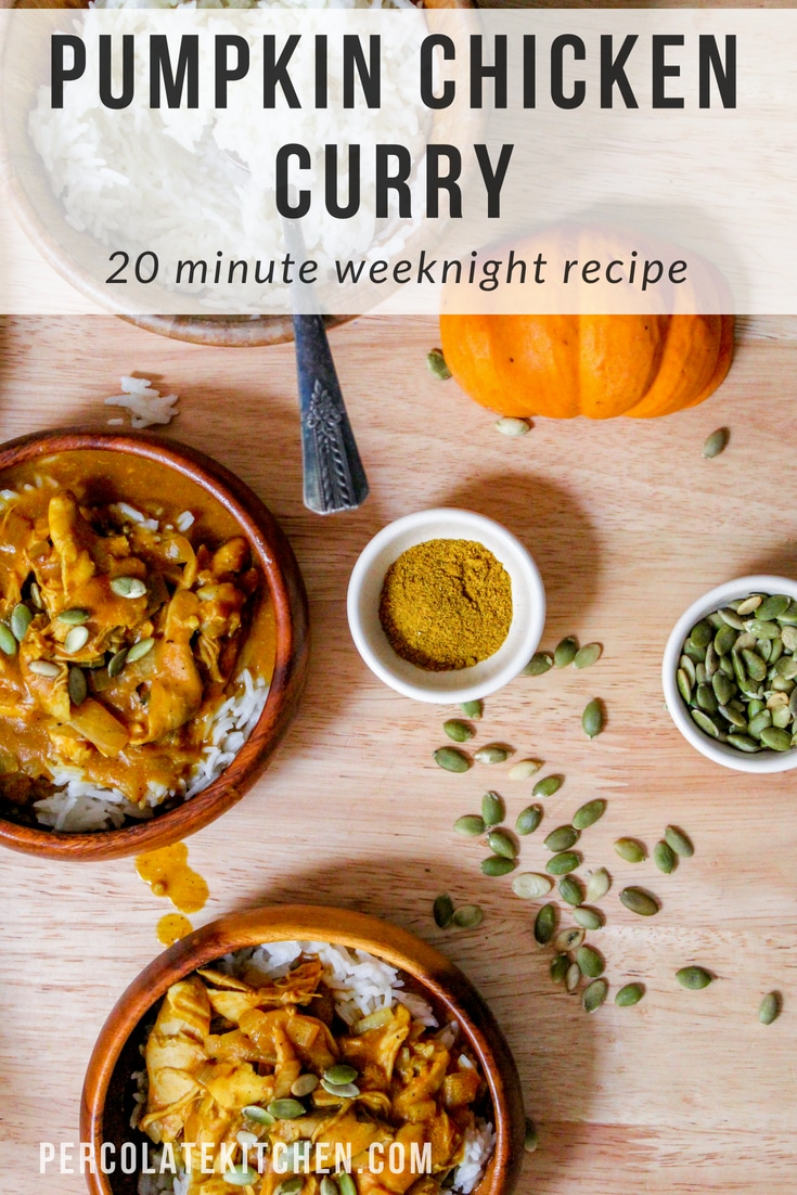 I love this simple, 20-minute creamy pumpkin and chicken curry as a go-to recipe for a weeknight dinner! It's a simple sauce that comes together quickly and is even better the next day.