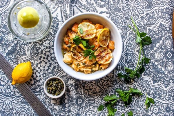 I get chicken piccata whenever we go to an Italian restaurant for dinner, and I never realized how easy it is to make it at home! She includes a really simple parmesan spinach orzo recipe to go on the side, too. My husband loved this recipe.
