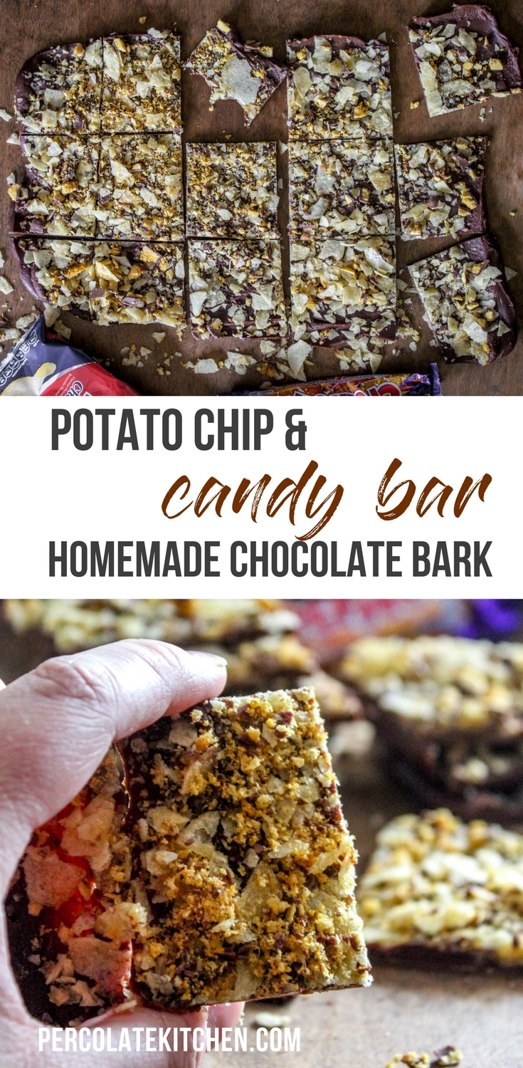 It's weird, it's wonderful, it's a perfect treat to make for Saint Patrick's Day! This homemade chocolate bark is made with melted chocolate, Tayto Cheese & Onion Crisps, and Cadbury Crunchie Bar. It's salty, sweet, and delicious!