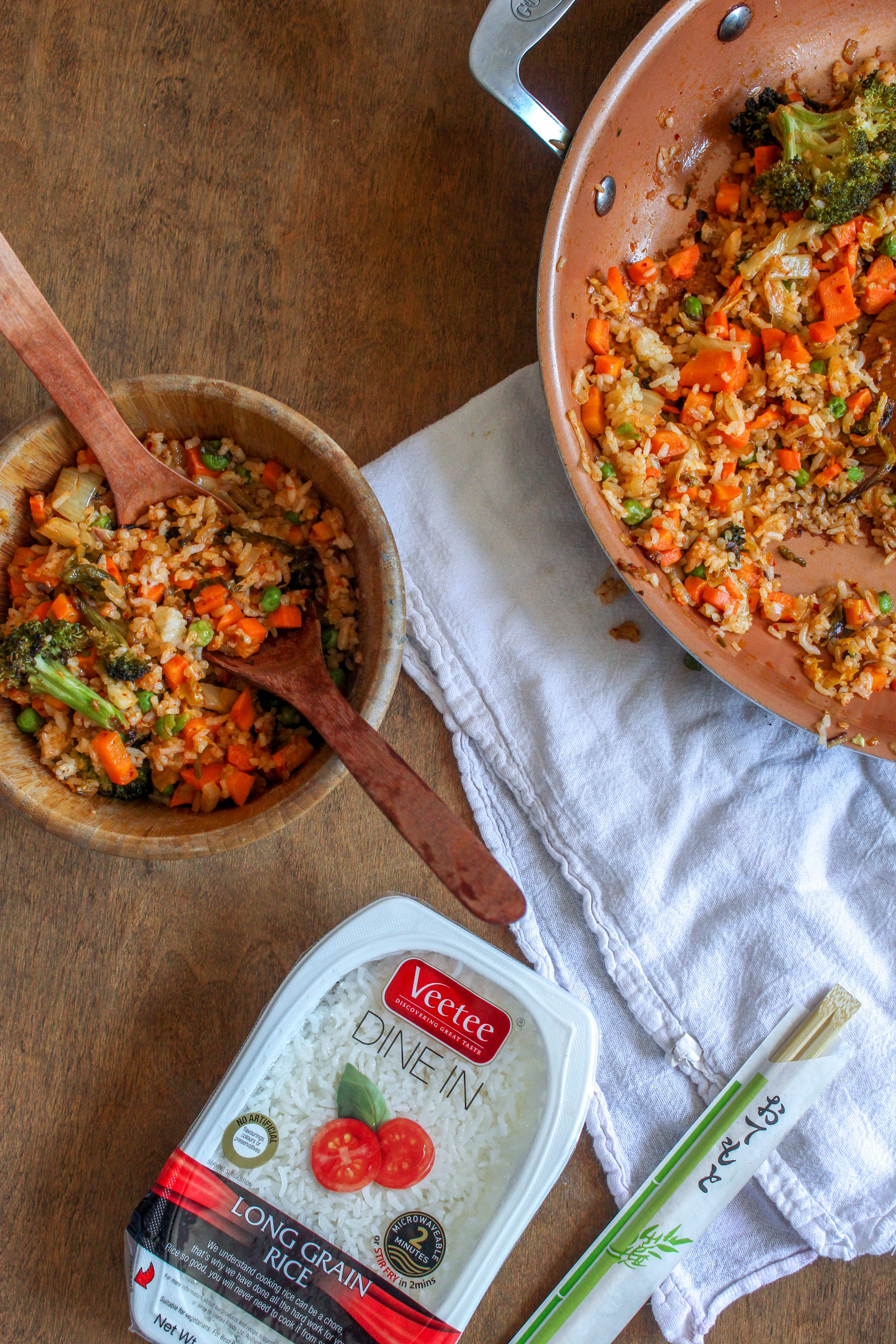 Weeknight kimchi fried rice with leftover vegetables enough and dry just enough to toast and caramelize the rice making this dish a perfect im in the mood for fried rice option that you dont have to ccuart Choice Image