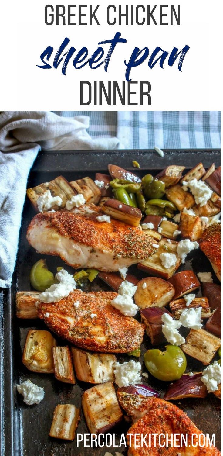 This Greek chicken takes only 20 minutes from start to finish, and it's packed full of green buttery olives, sweet roasted eggplant, and spice rubbed chicken, topped with a shower of crumbled feta cheese.