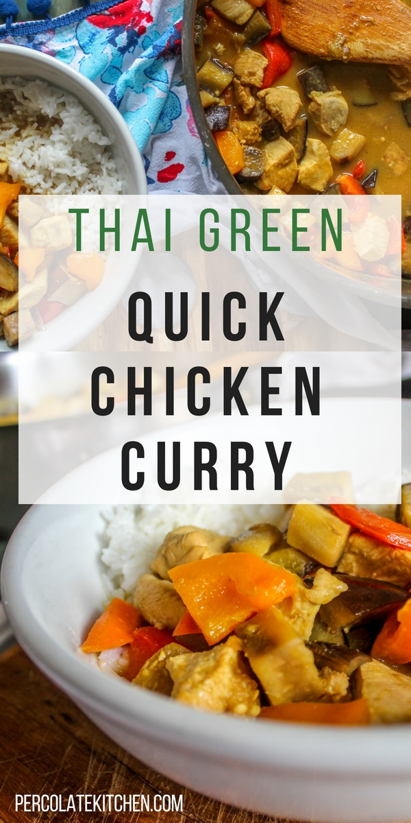 Stop calling for takeout! This quick chicken curry recipe is packed with Thai flavors, including green curry paste, creamy coconut milk, bell peppers, eggplant, and carrots, all served over steaming long grain rice.
