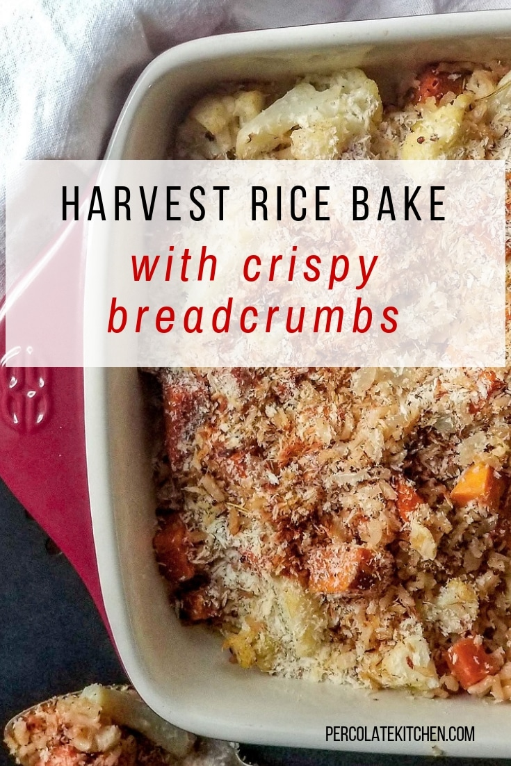 Harvest Rice Bake is a perfect vegan Thanksgiving side! Made with sweet potatoes, vegetable broth, wholegrain brown rice, and topped with crispy breadcrumbs.