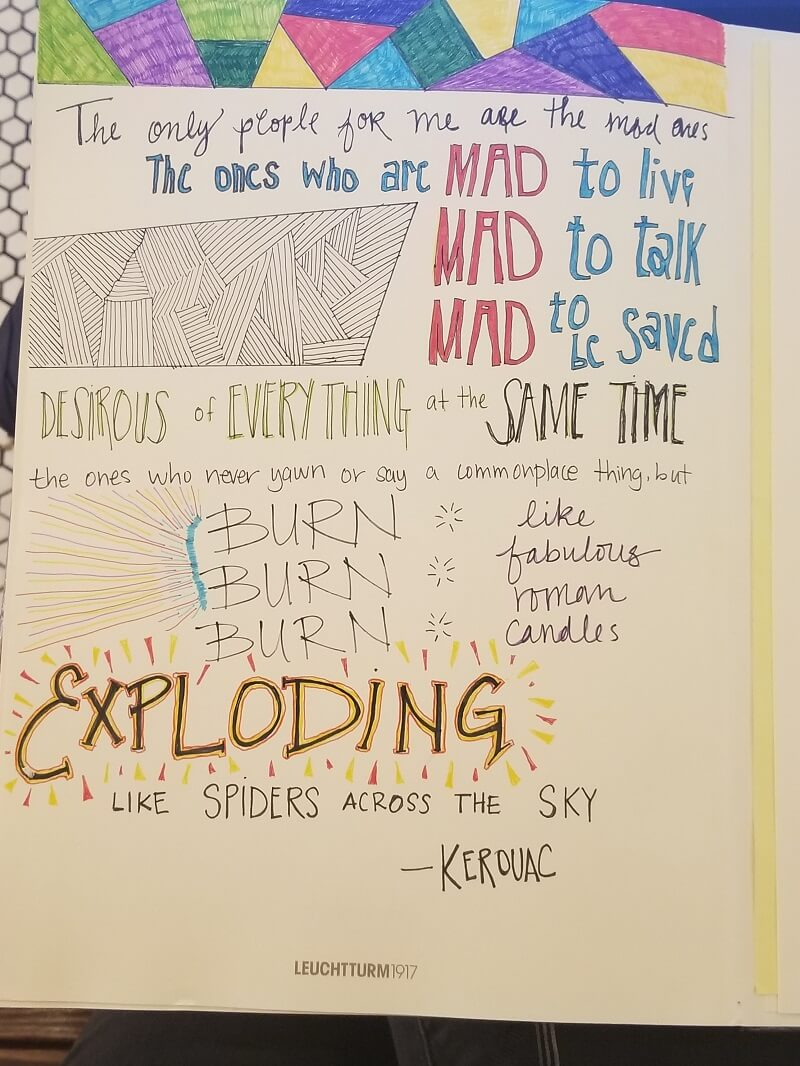 My favorite Kerouc quote, as a bullet journal doodle.